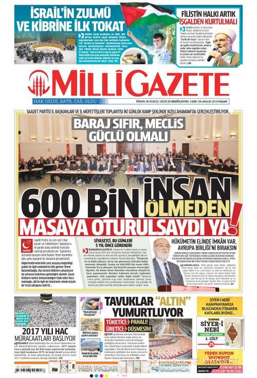 MİLLİ GAZETE - 25 Aralık 2016