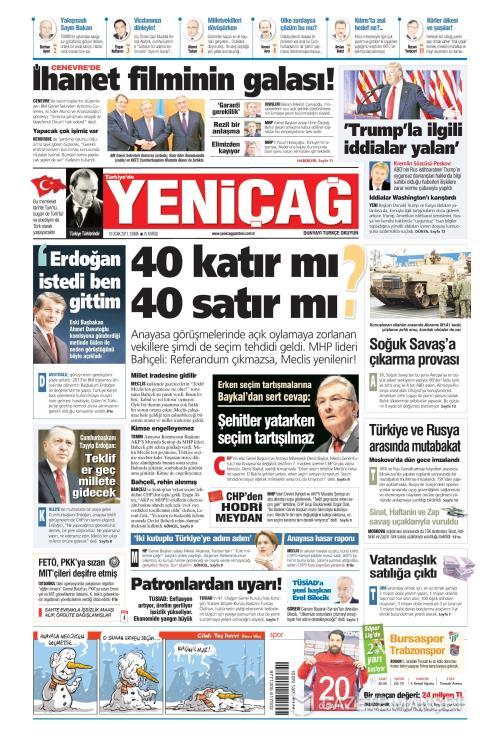 Türkiye'de Yeni Çağ - 13 Ocak 2017