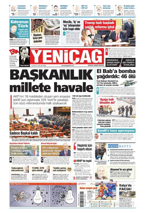 Türkiye'de Yeni Çağ - 22 Ocak 2017