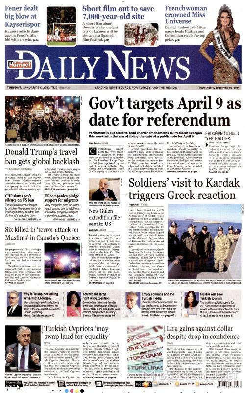 HÜRRİYET DAİLY NEWS - 31 Ocak 2017