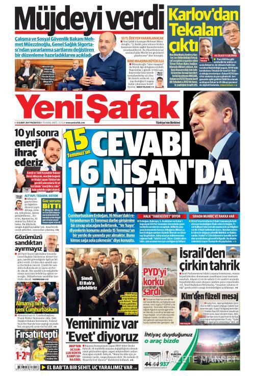 YENİ ŞAFAK - 13 Şubat 2017
