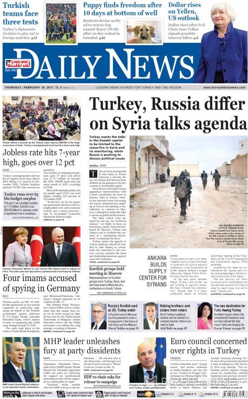 HÜRRİYET DAİLY NEWS - 16 Şubat 2017