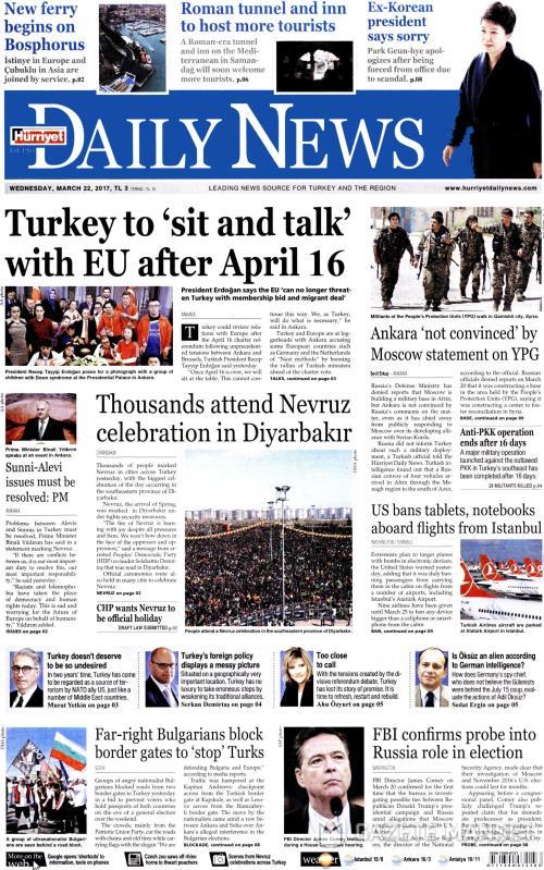 HÜRRİYET DAİLY NEWS - 22 Mart 2017