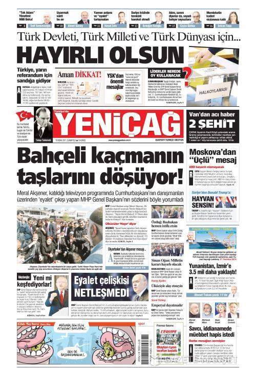 Türkiye'de Yeni Çağ - 15 Nisan 2017