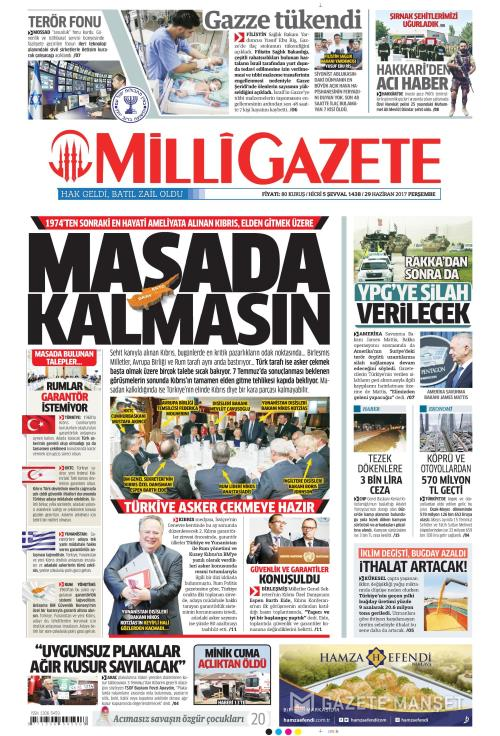 MİLLİ GAZETE - 29 Haziran 2017