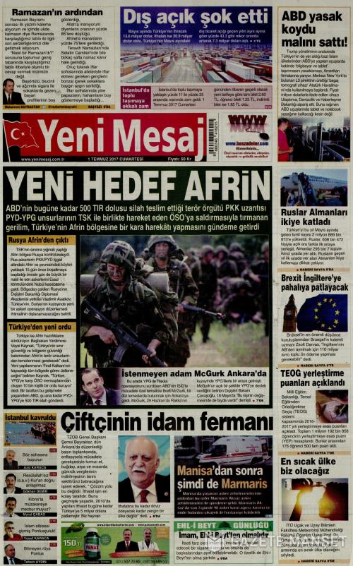 YENİ MESAJ - 01 Temmuz 2017