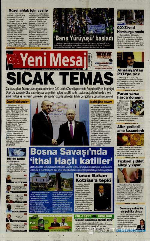 YENİ MESAJ - 09 Temmuz 2017