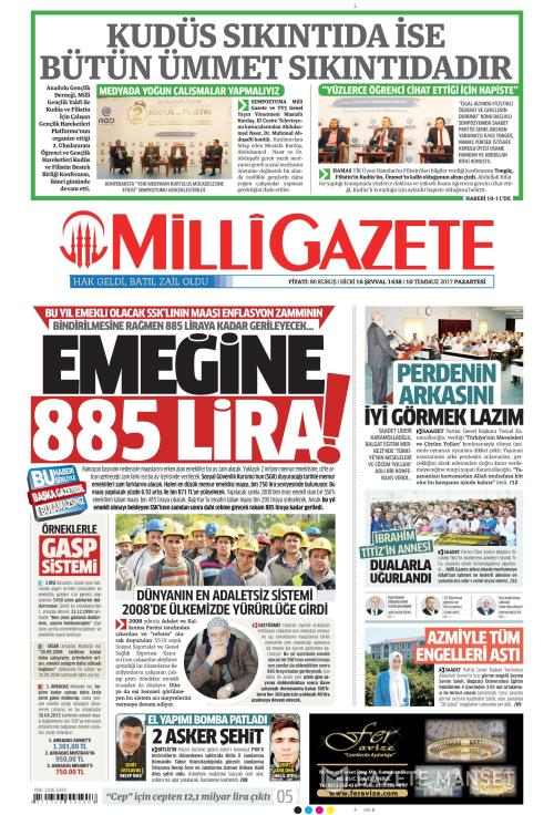 MİLLİ GAZETE - 10 Temmuz 2017
