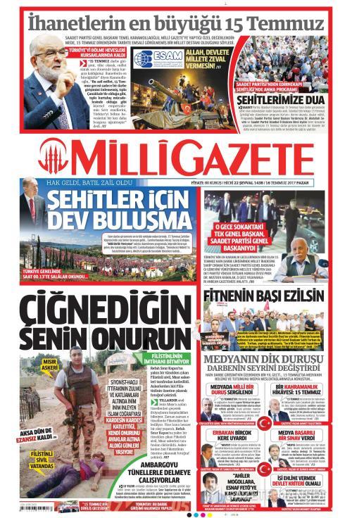 MİLLİ GAZETE - 16 Temmuz 2017