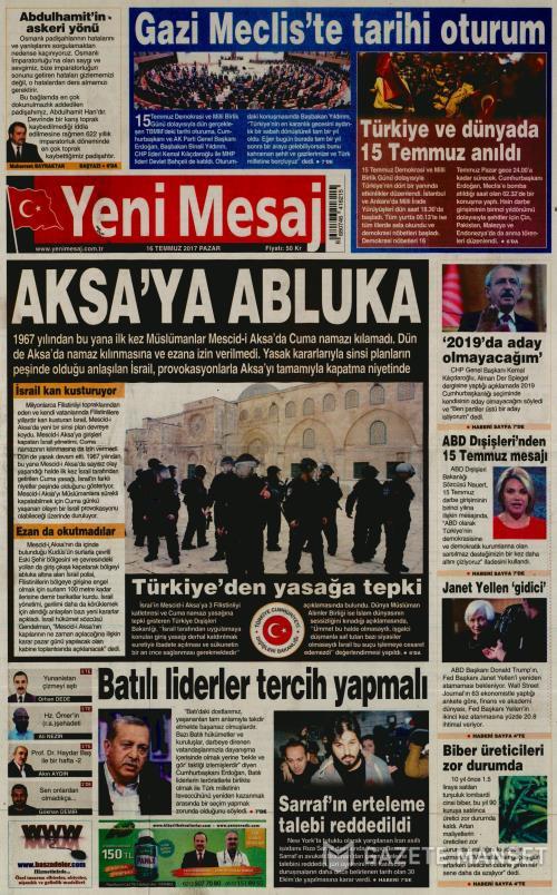 YENİ MESAJ - 16 Temmuz 2017