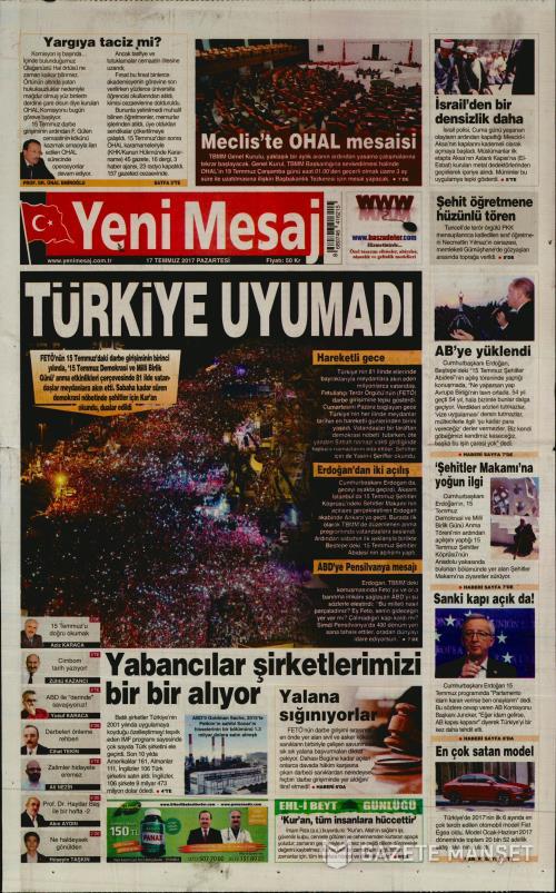 YENİ MESAJ - 17 Temmuz 2017