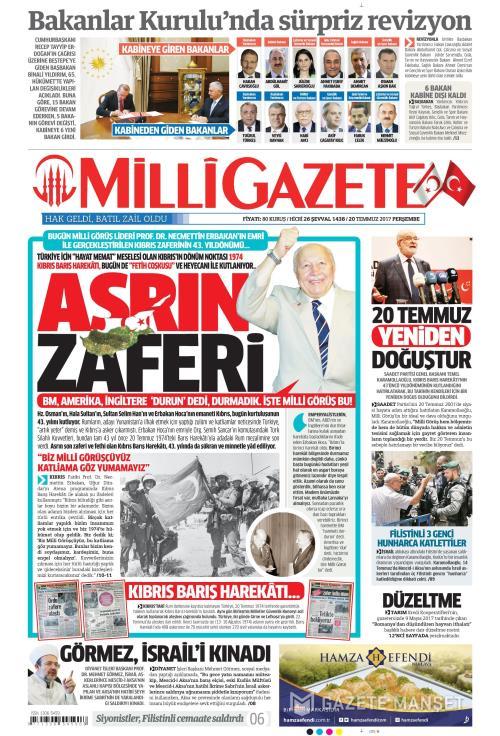 MİLLİ GAZETE - 20 Temmuz 2017
