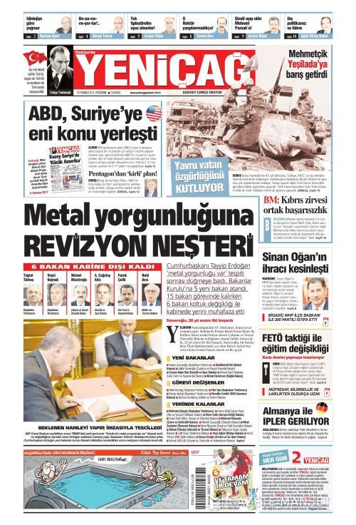 Türkiye'de Yeni Çağ - 20 Temmuz 2017