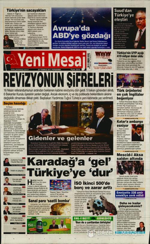 YENİ MESAJ - 20 Temmuz 2017