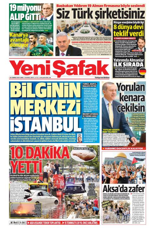 YENİ ŞAFAK - 28 Temmuz 2017