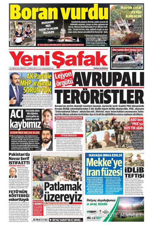 YENİ ŞAFAK - 29 Temmuz 2017