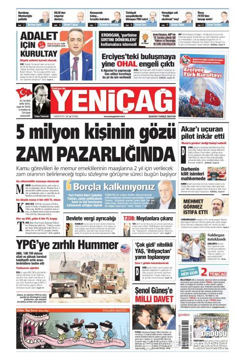 Türkiye'de Yeni Çağ - 01 Ağustos 2017