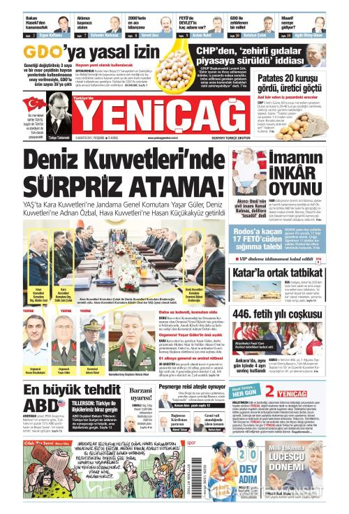 Türkiye'de Yeni Çağ - 03 Ağustos 2017
