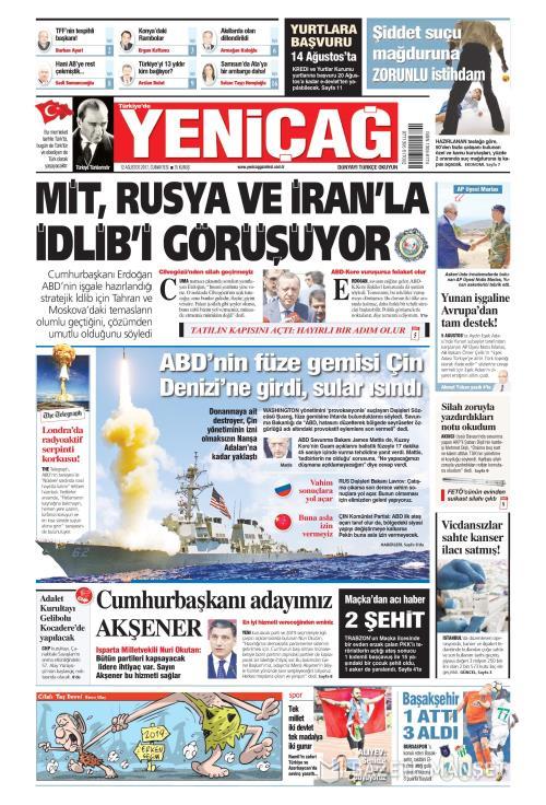 Türkiye'de Yeni Çağ - 12 Ağustos 2017