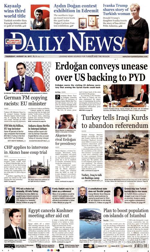 HÜRRİYET DAİLY NEWS - 24 Ağustos 2017