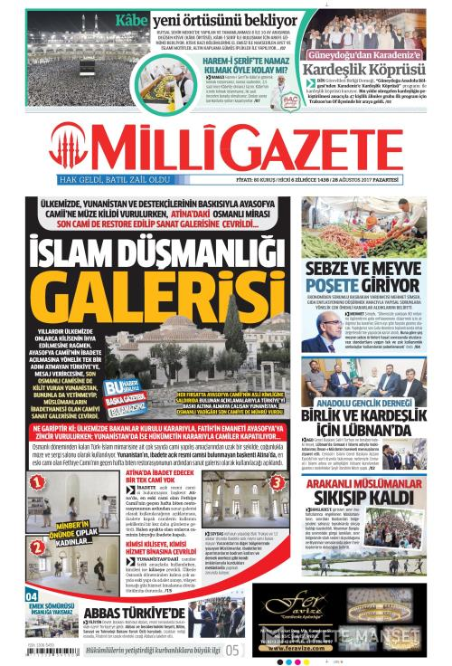 MİLLİ GAZETE - 28 Ağustos 2017