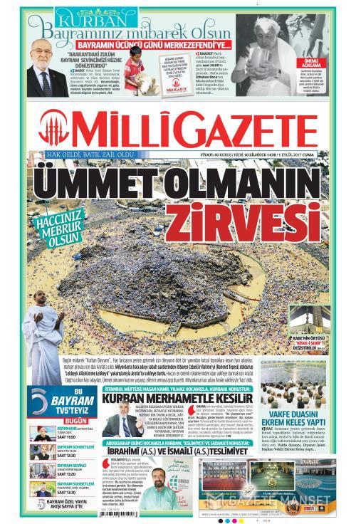 MİLLİ GAZETE - 01 Eylül 2017