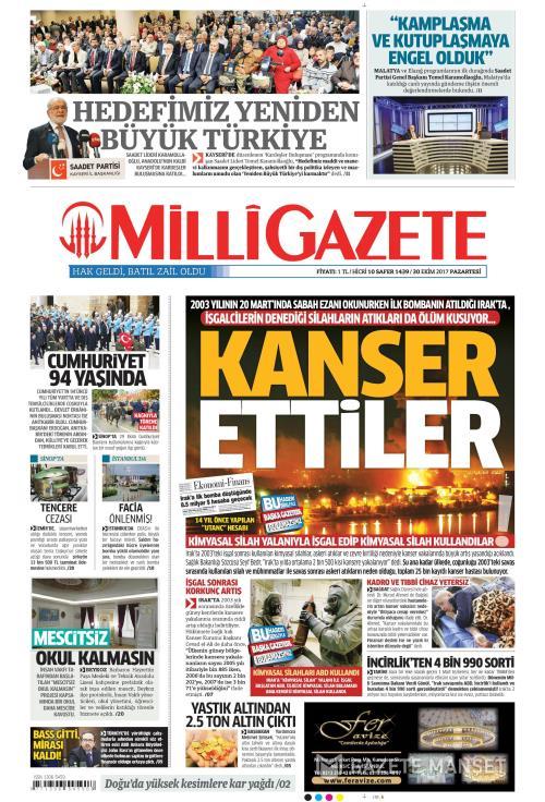 MİLLİ GAZETE - 30 Ekim 2017