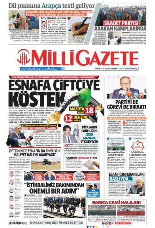 MİLLİ GAZETE - 31 Ekim 2017