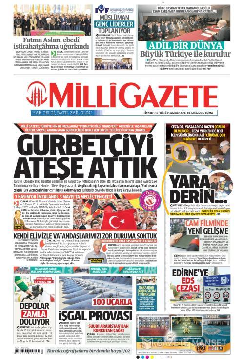 MİLLİ GAZETE - 10 Kasım 2017
