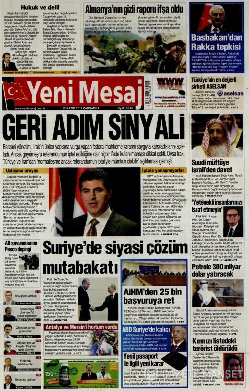 YENİ MESAJ - 15 Kasım 2017