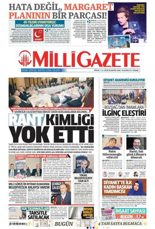 MİLLİ GAZETE - 19 Kasım 2017
