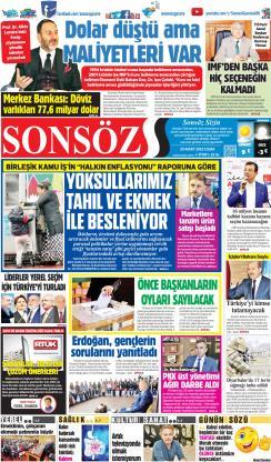 SONSÖZ - 29 Mart 2019