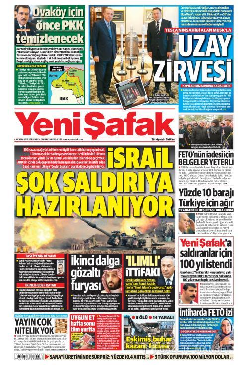 YENİ ŞAFAK - 09 Kasım 2017