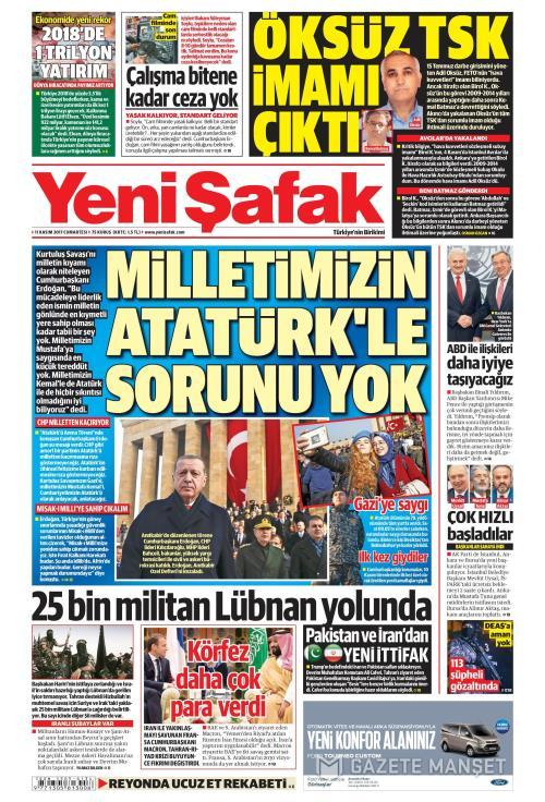 YENİ ŞAFAK - 11 Kasım 2017