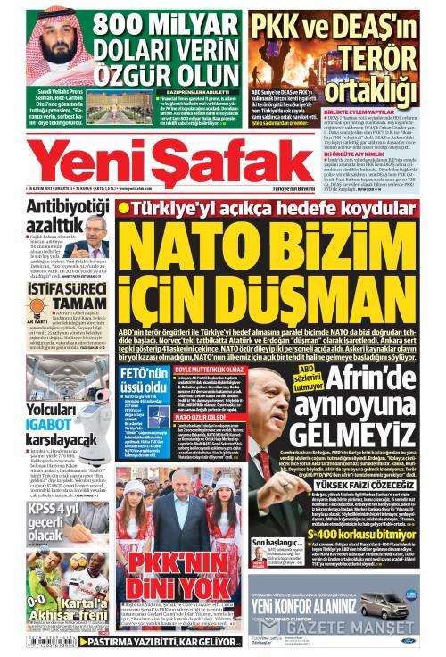 YENİ ŞAFAK - 18 Kasım 2017