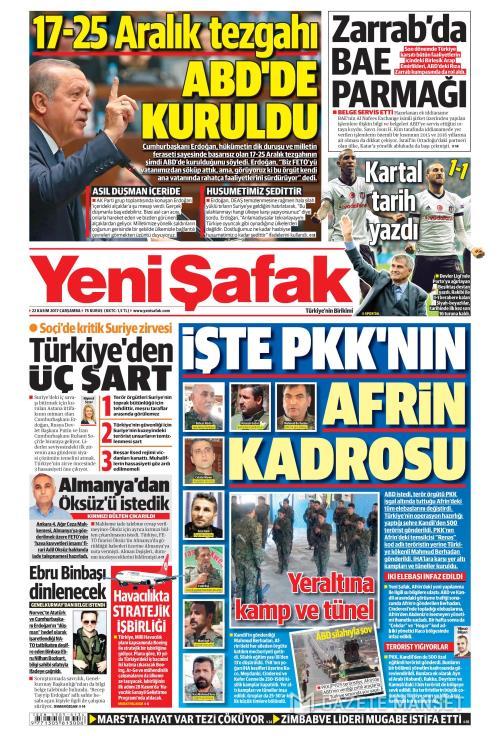 YENİ ŞAFAK - 22 Kasım 2017