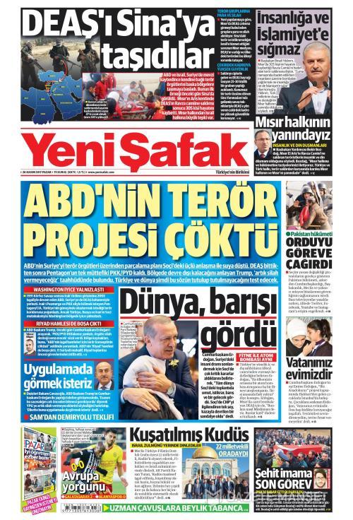 YENİ ŞAFAK - 26 Kasım 2017