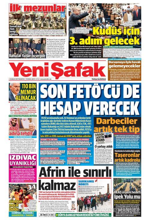 YENİ ŞAFAK - 25 Aralık 2017