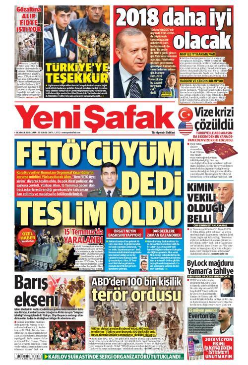 YENİ ŞAFAK - 29 Aralık 2017