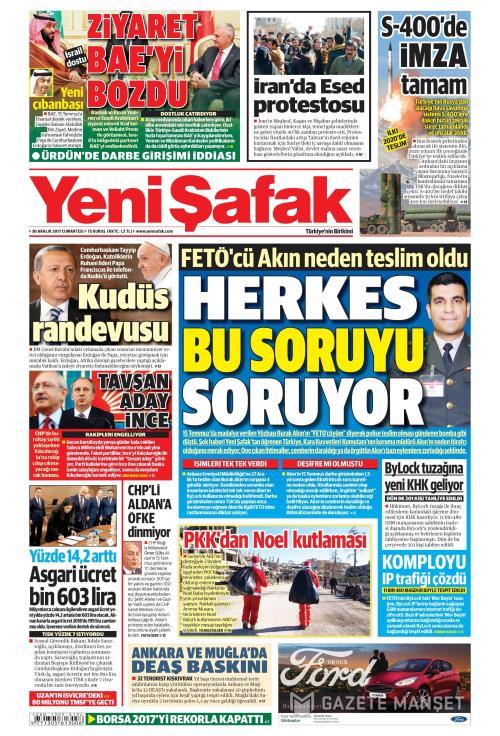 YENİ ŞAFAK - 30 Aralık 2017