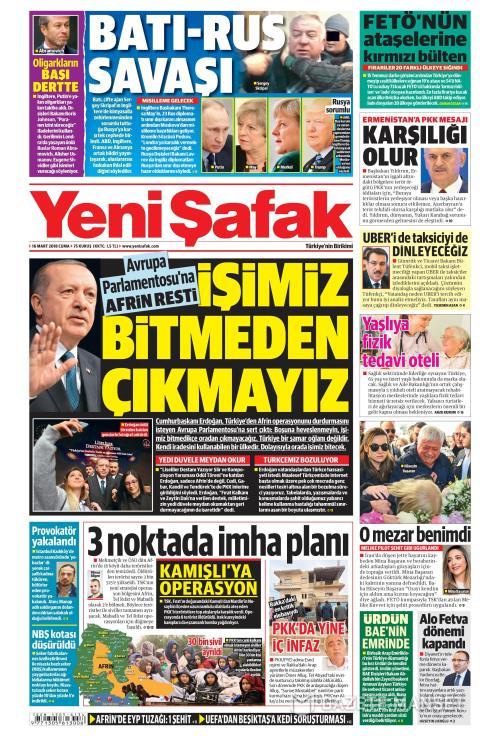 YENİ ŞAFAK - 16 Mart 2018
