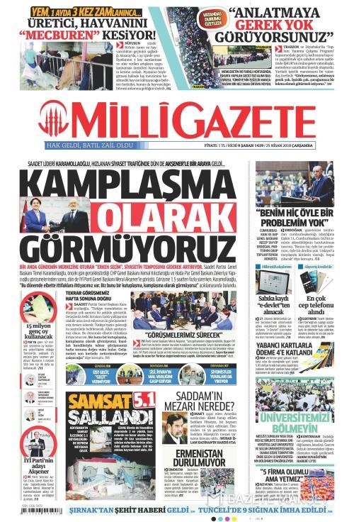 MİLLİ GAZETE - 25 Nisan 2018