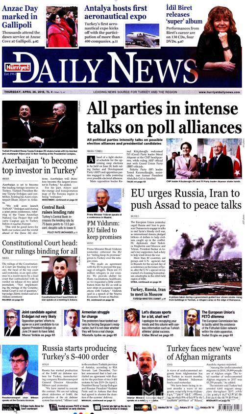HÜRRİYET DAİLY NEWS - 26 Nisan 2018