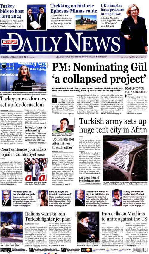 HÜRRİYET DAİLY NEWS - 27 Nisan 2018