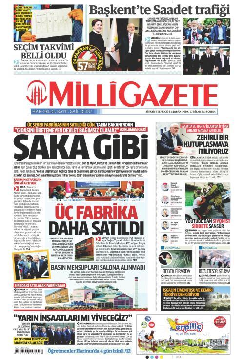 MİLLİ GAZETE - 27 Nisan 2018