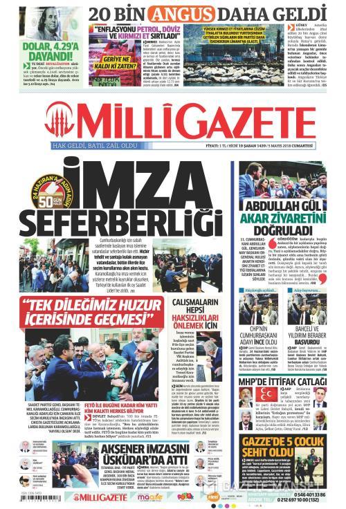 MİLLİ GAZETE - 05 Mayıs 2018