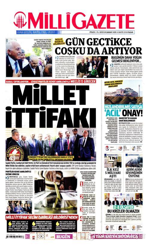 MİLLİ GAZETE - 06 Mayıs 2018