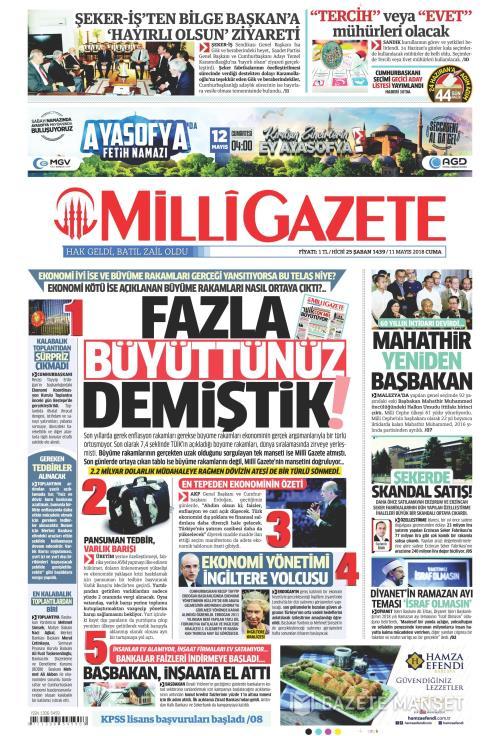 MİLLİ GAZETE - 11 Mayıs 2018