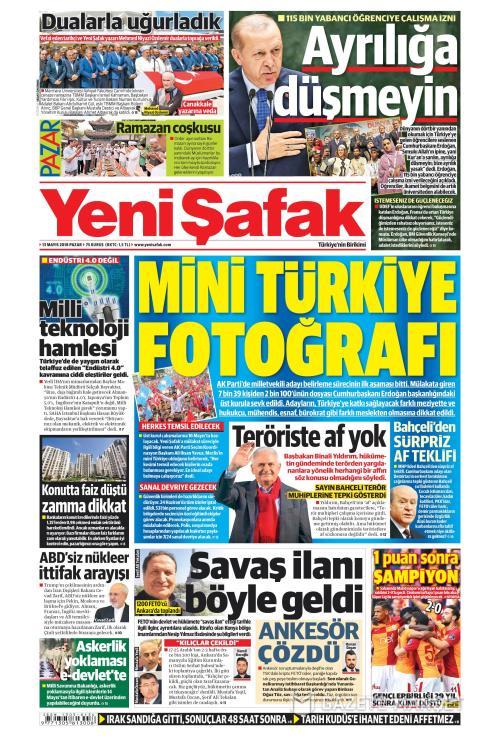 YENİ ŞAFAK - 13 Mayıs 2018
