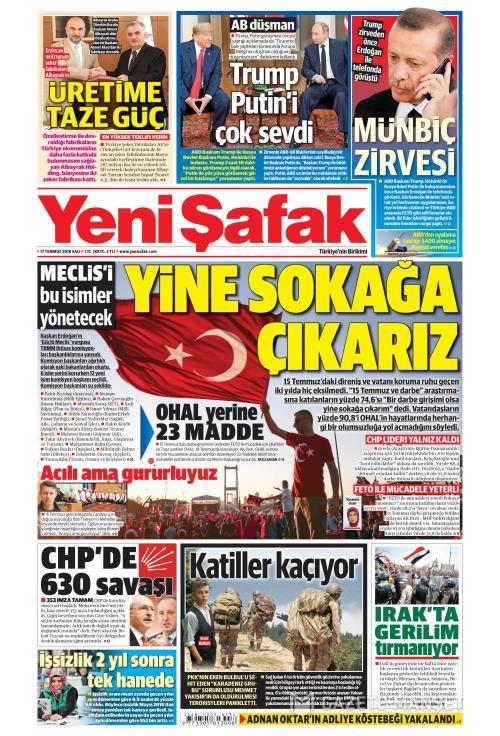YENİ ŞAFAK - 17 Temmuz 2018